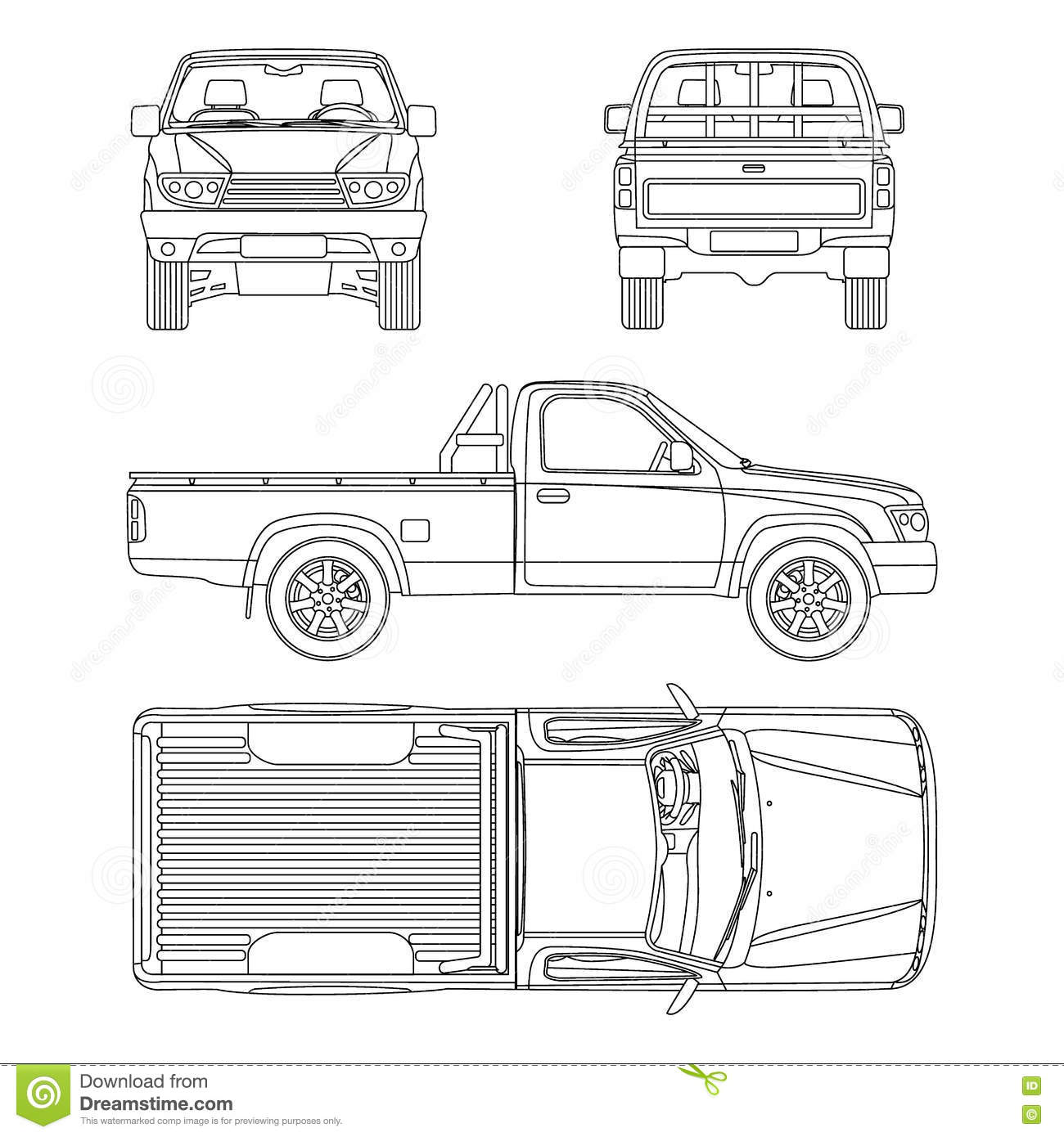 Car Pickup Truck One Cab Vector Illustration Stock Vector