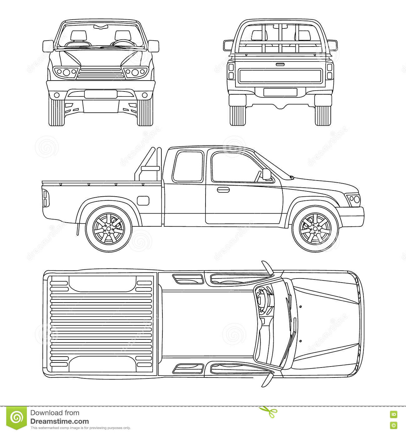 hight resolution of car pickup truck vector illustration