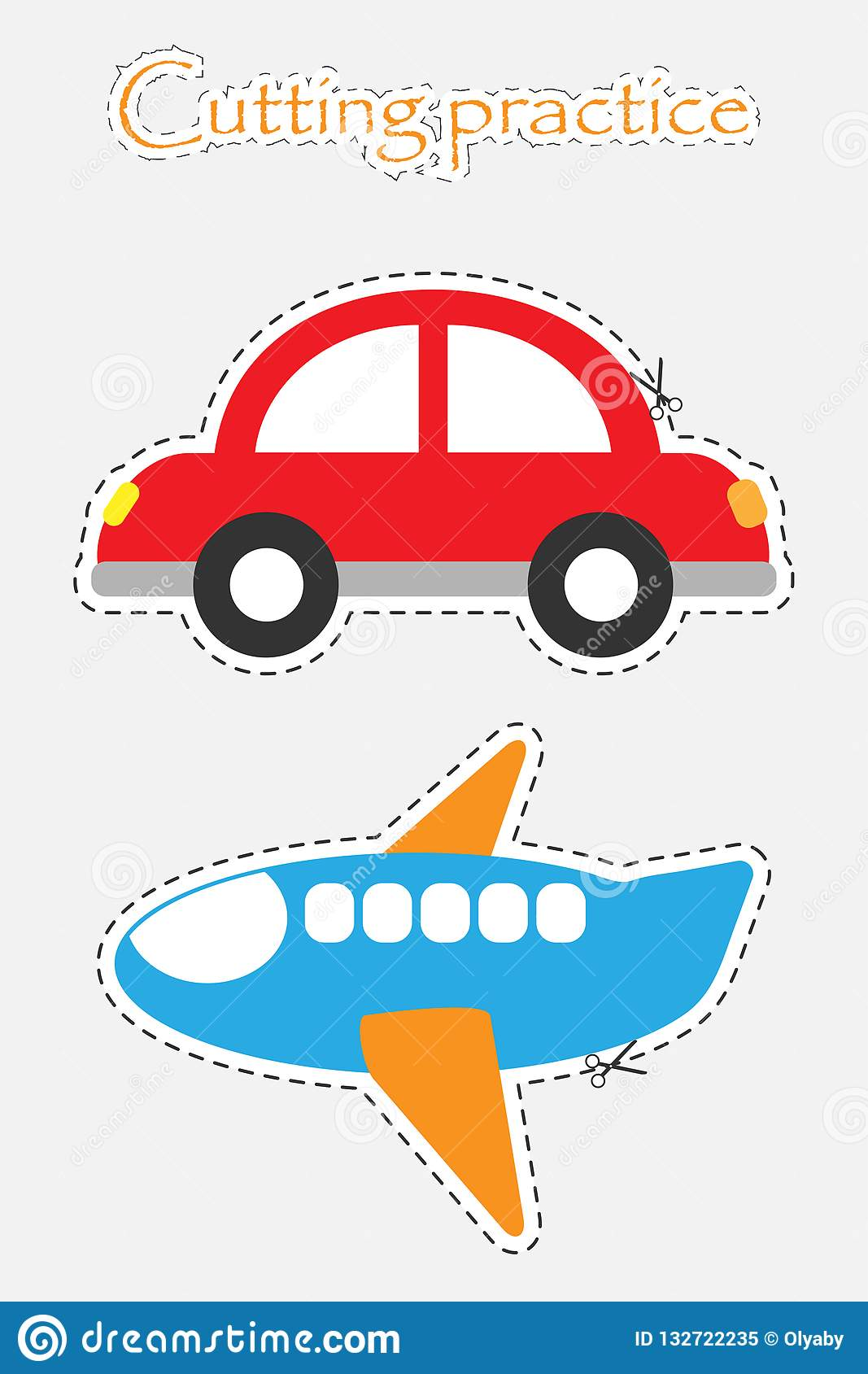Car And Plane In Cartoon Style Cutting Practice