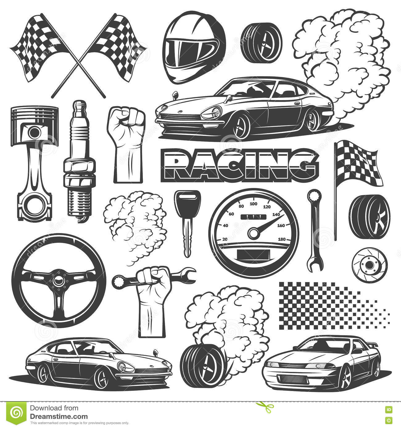 Car Racing Black Isolated Monochrome Icon Set With Objects