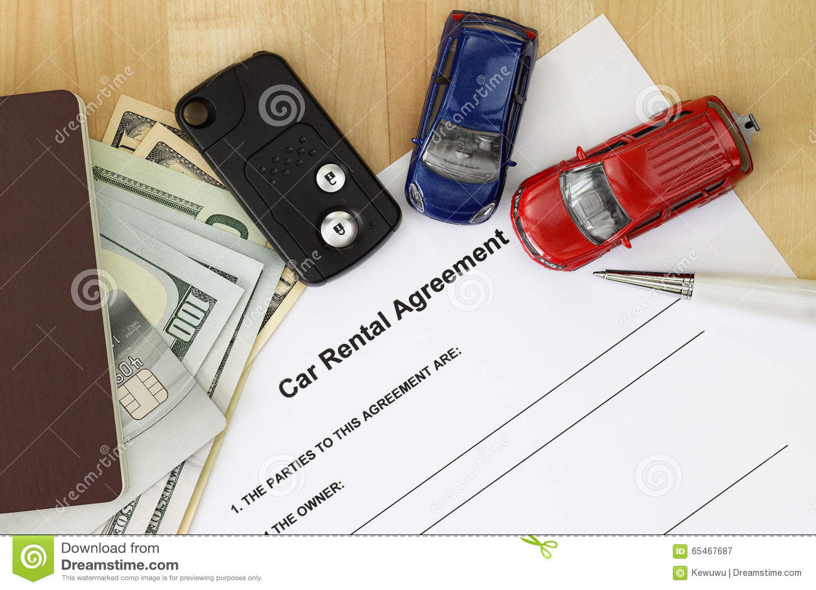 Download Car Rental Agreement With Car Key, Passport, Cash, Credit Card  Stock Image