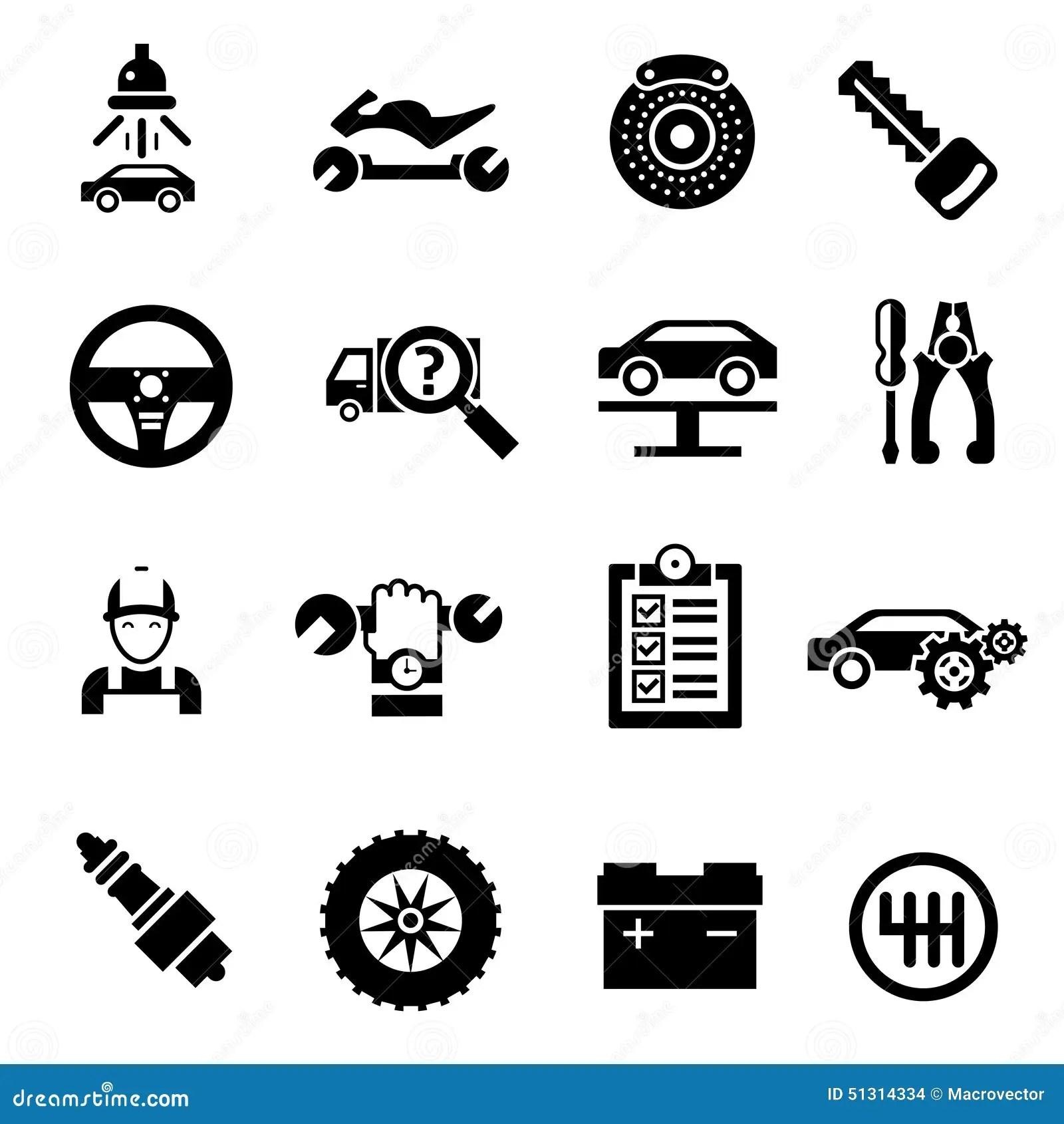 Car Repair Icons Black Stock Vector