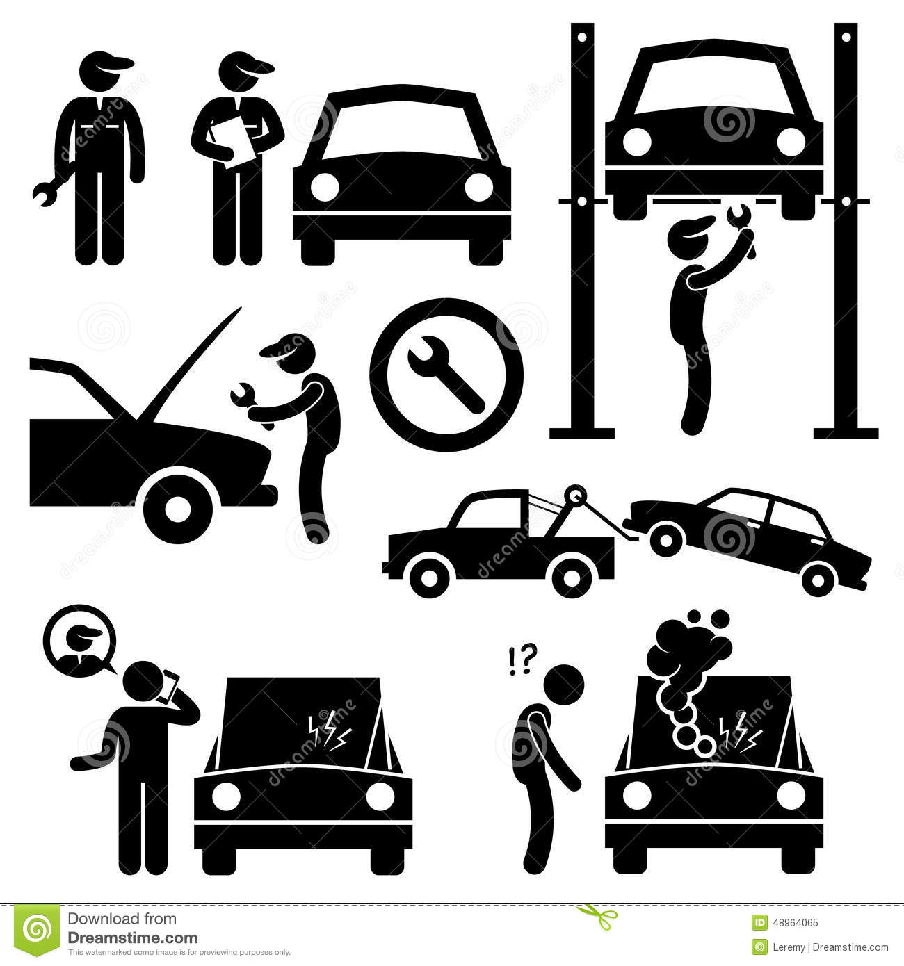 Car Repair Services Workshop Mechanic Icons Stock Vector