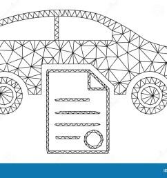 car sale contract polygonal frame vector mesh illustration [ 1600 x 1079 Pixel ]