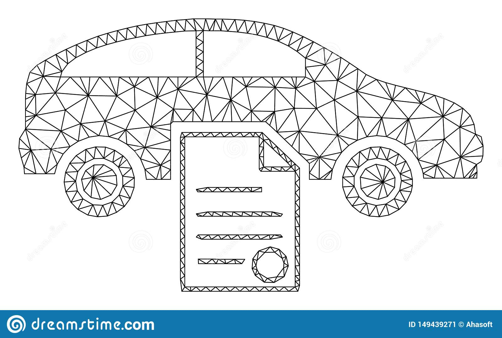 hight resolution of car sale contract polygonal frame vector mesh illustration