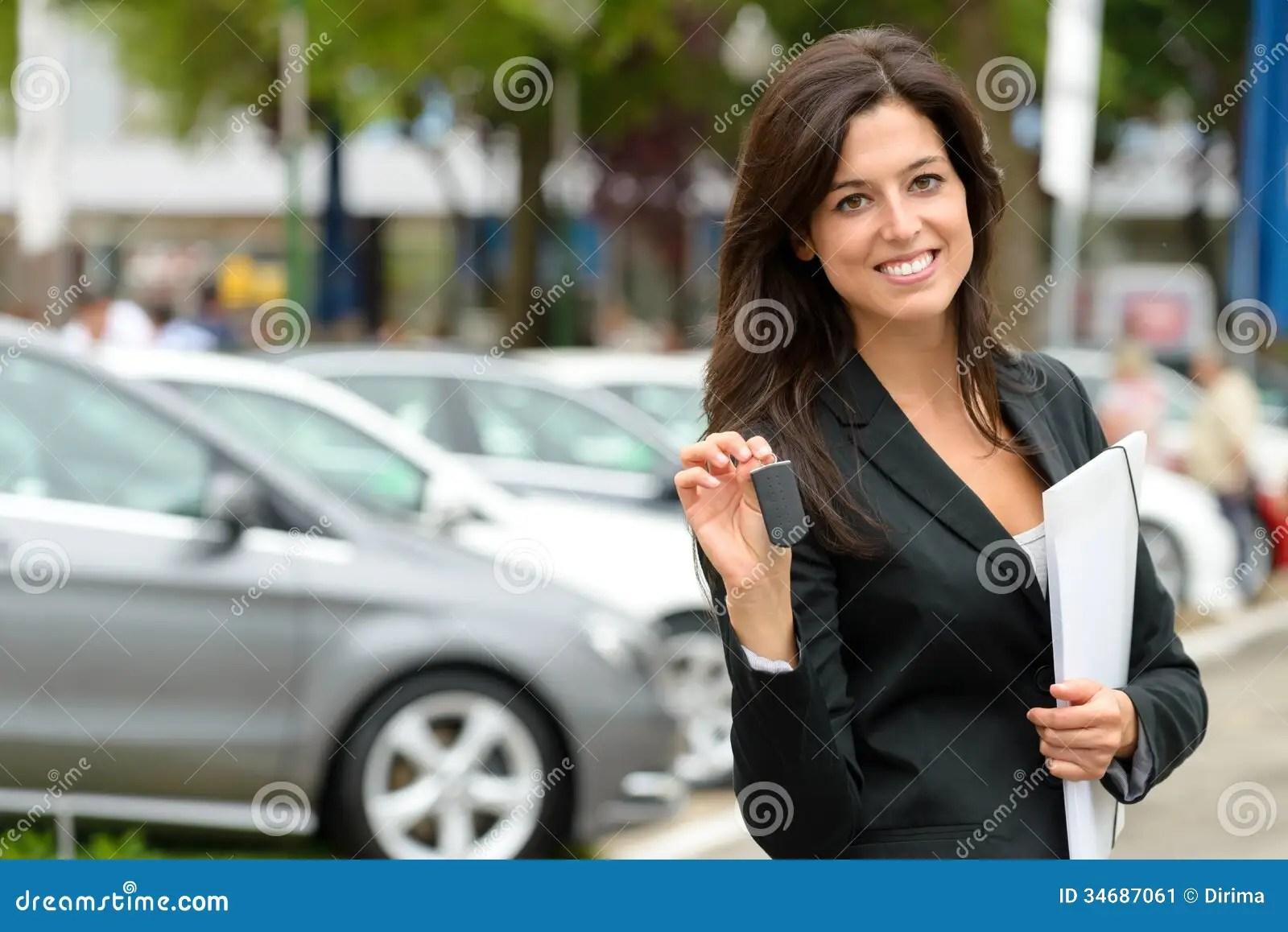 car sales woman stock