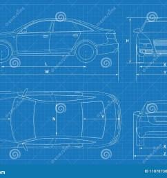 car schematic or car blueprint vector illustration sedan car in outline business sedan [ 1300 x 967 Pixel ]