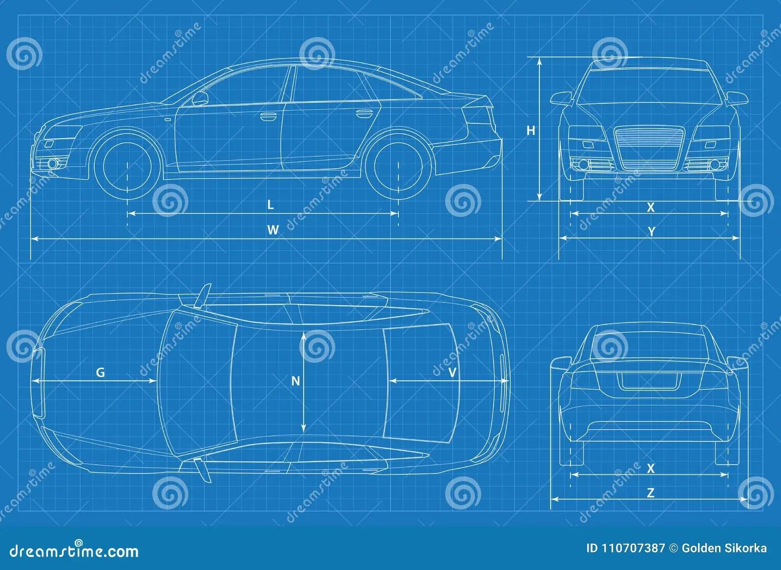hight resolution of car schematic or car blueprint vector illustration sedan car in outline business sedan