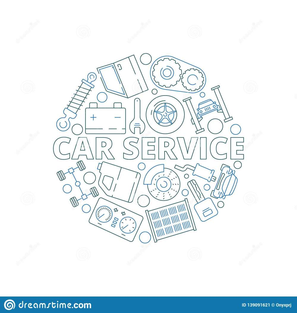 medium resolution of car service background mechanical automobile parts in circle shape starter engine gear garage vector thin