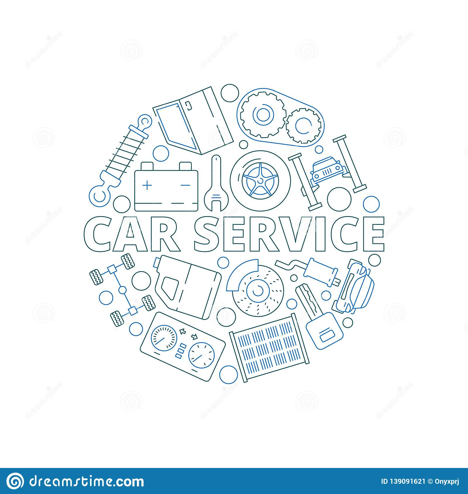 hight resolution of car service background mechanical automobile parts in circle shape starter engine gear garage vector thin
