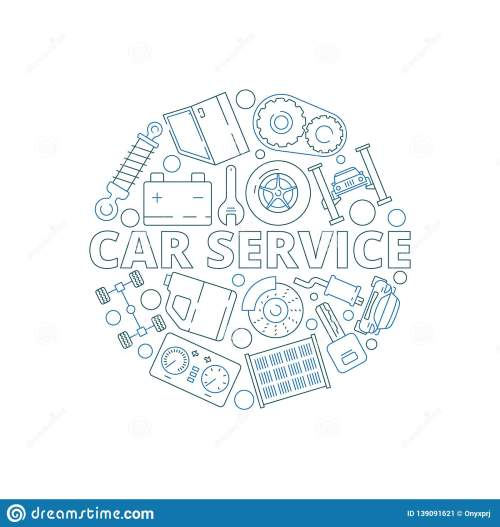 small resolution of car service background mechanical automobile parts in circle shape starter engine gear garage vector thin