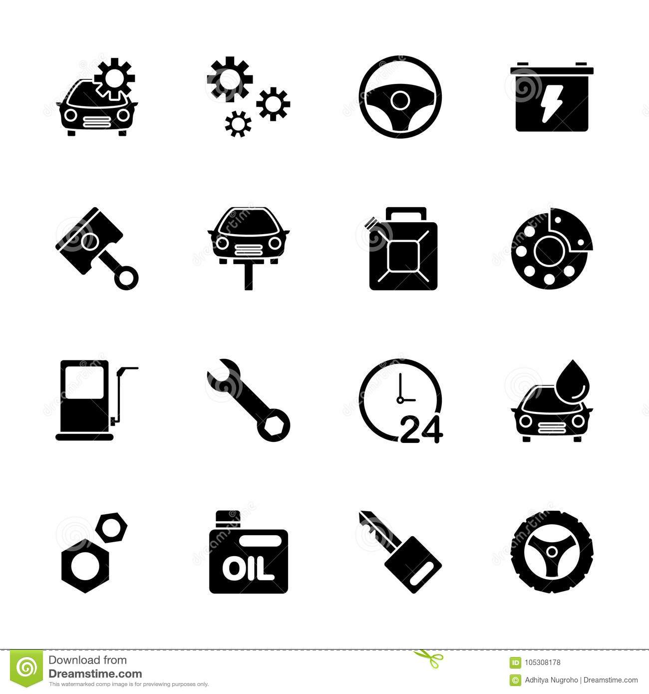 Car Service Icon Set Stock Vector Illustration Of Tire