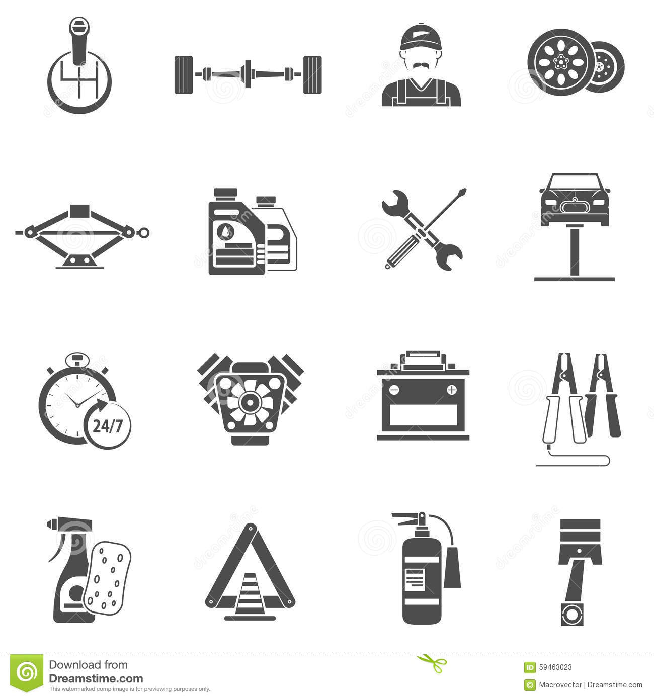 Car Service Icons Black Stock Vector Image Of Pictogram