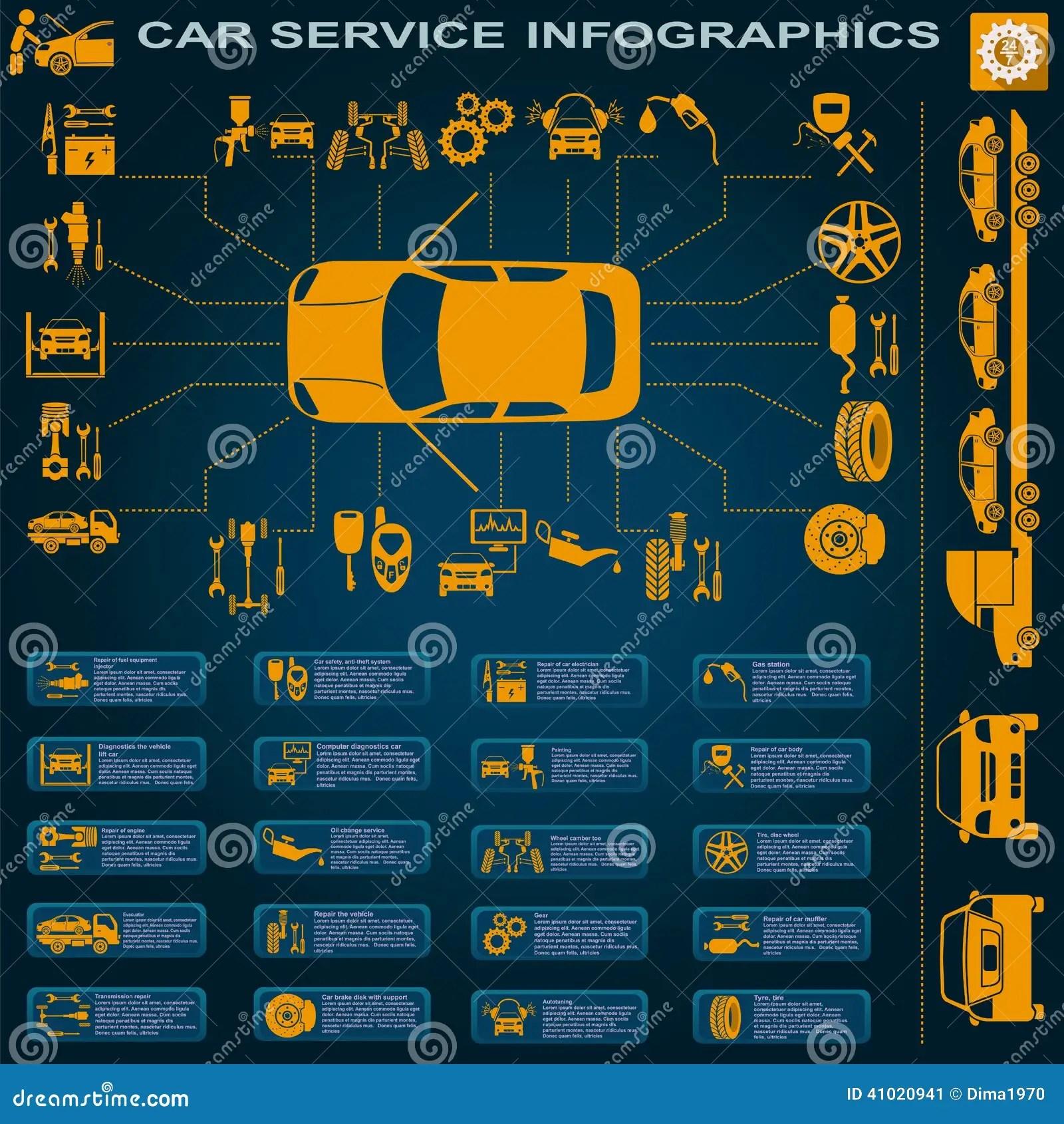 Car Service Repair Infographics Stock Vector Image