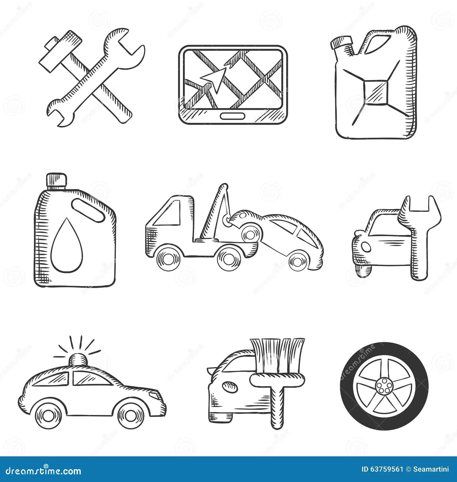 Car Service Sketch Icons Set Stock Vector