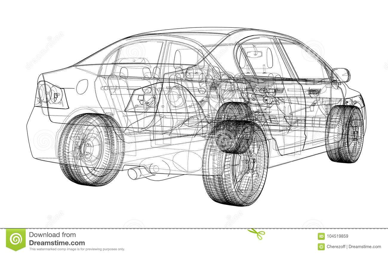 Car sketch. Vector stock vector. Image of illustration