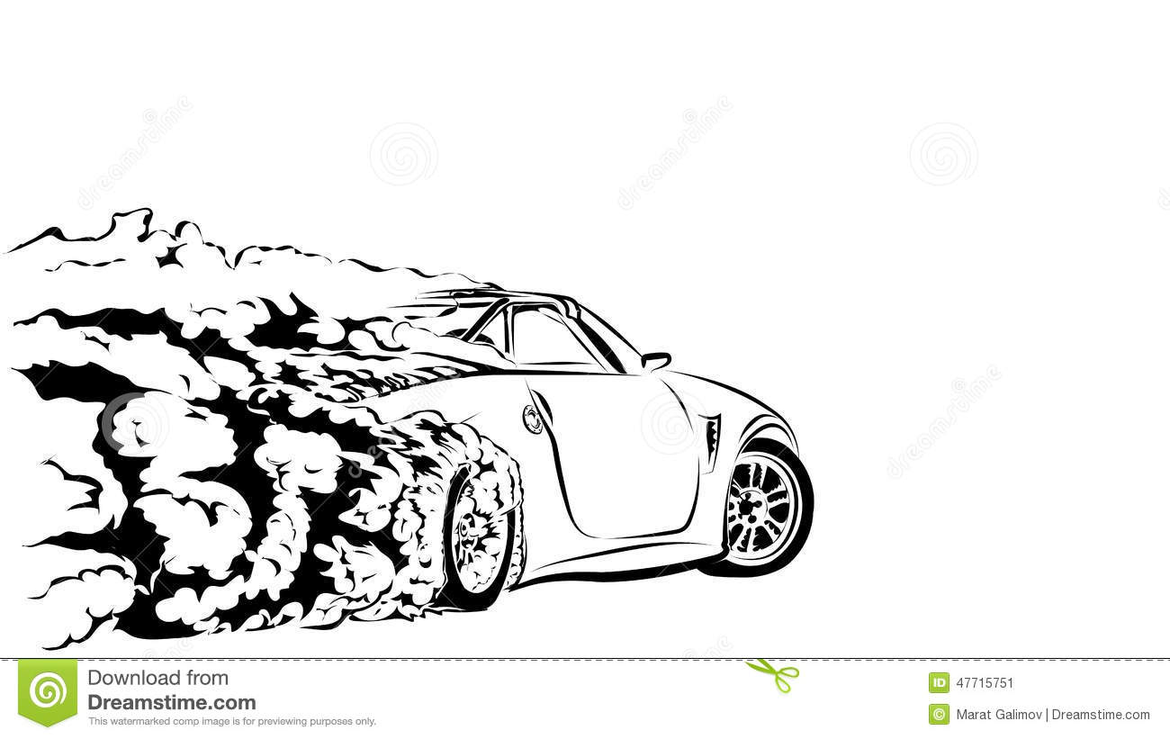 Car Sport Drift Stock Vector