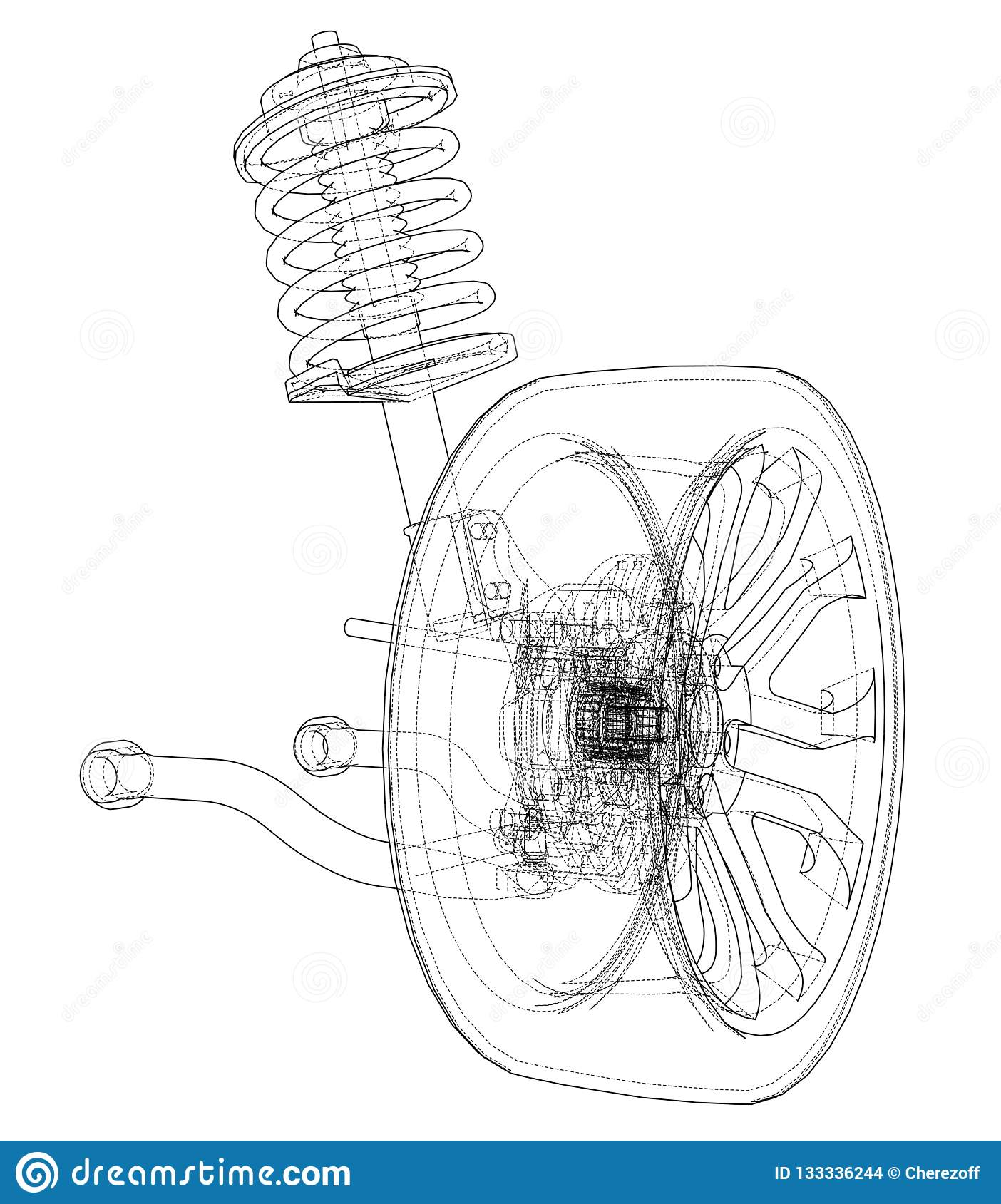 hight resolution of car suspension with wheel tire and shock absorber