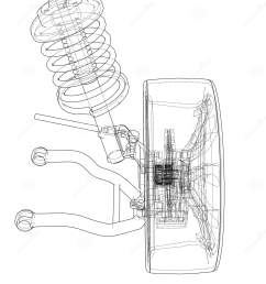 car suspension with wheel tire and shock absorber 3d illustration wire frame style [ 1404 x 1689 Pixel ]