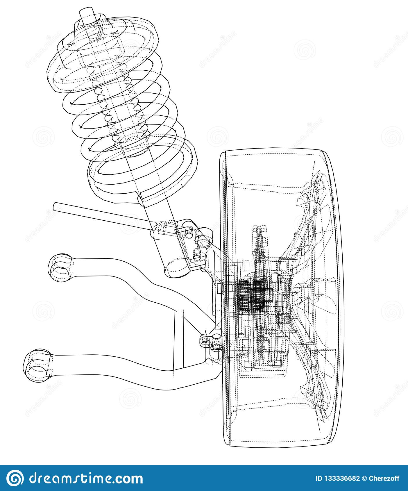 hight resolution of car suspension with wheel tire and shock absorber 3d illustration wire frame style