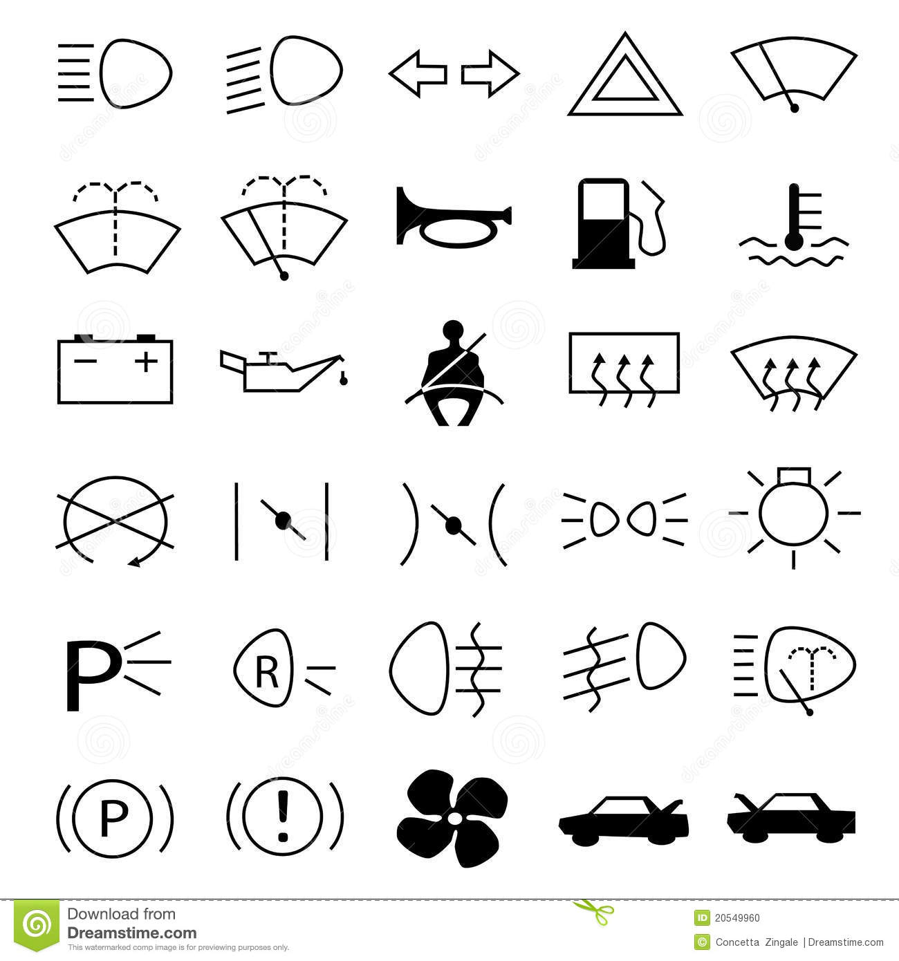 Car Warning Symbols Stock Photo