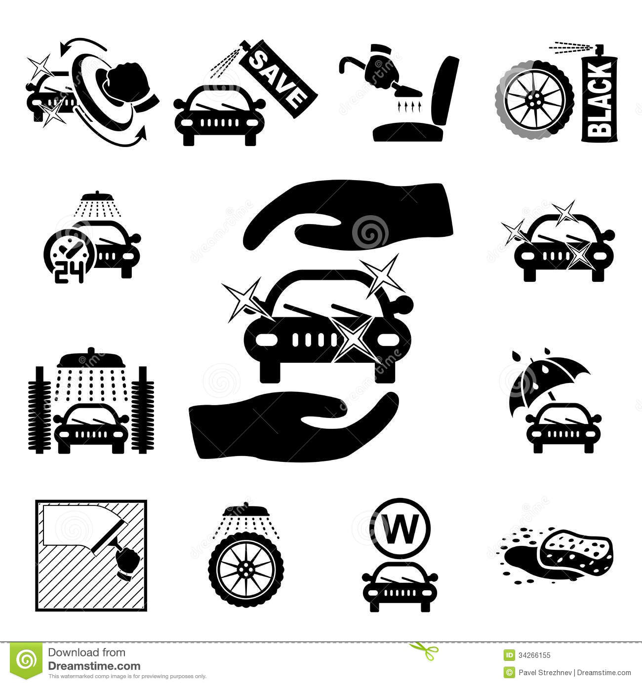 Car Wash Icons Set Stock Vector Illustration Of Motor