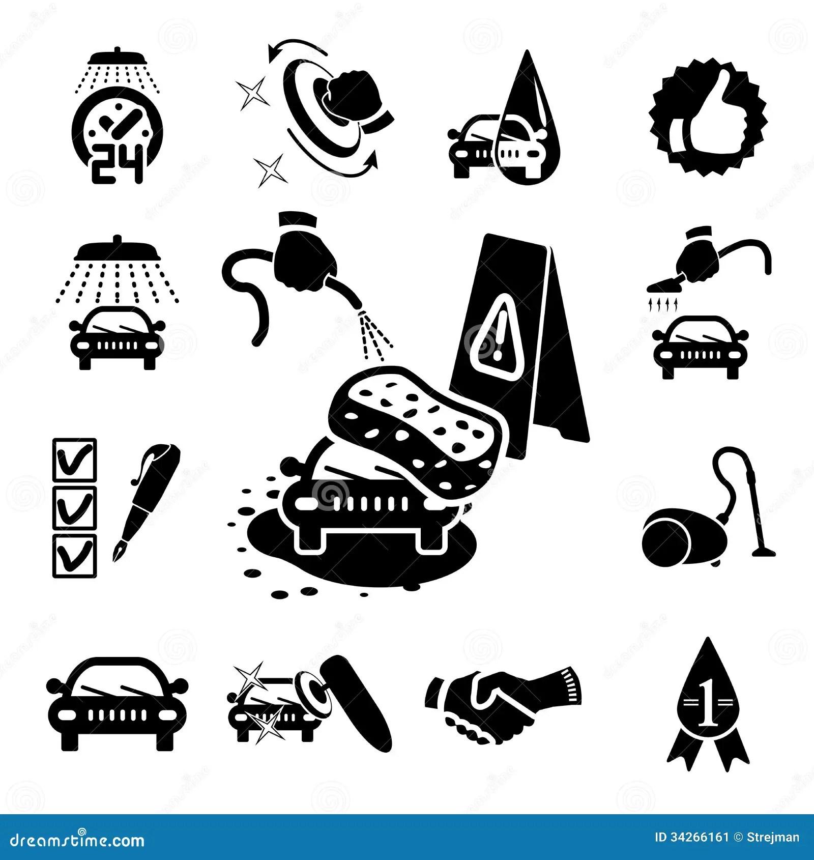 Car Wash Icons Set Stock Vector Illustration Of Black