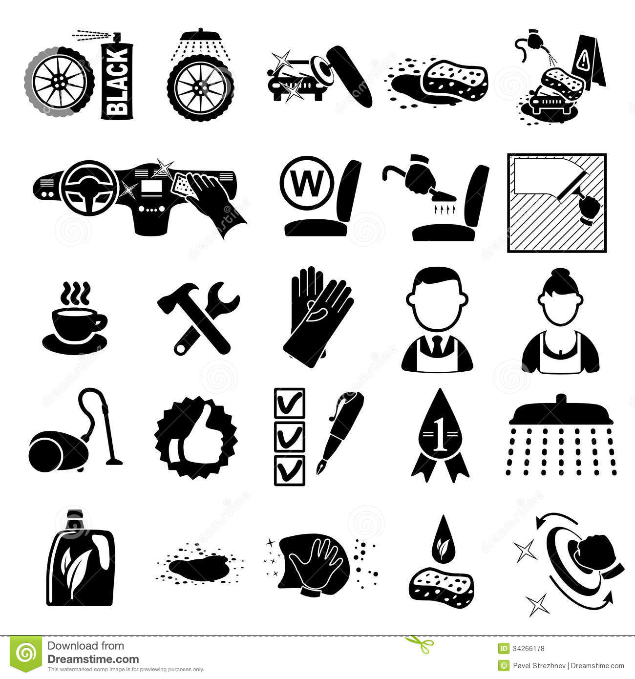 Car Wash Icons Set Stock Vector Illustration Of Clean