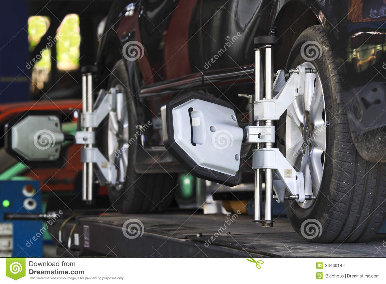 Car Wheel Fixed With Computerized Wheel Alignment Machine Clamp Royalty Free Stock Image  Image