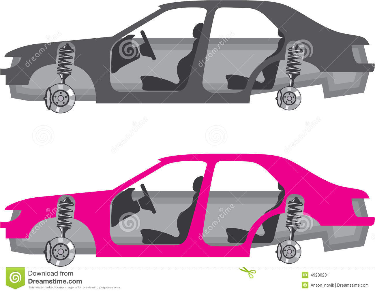 vehicle diagram clip art getting things done workflow car with wheels off doors auto body stock vector