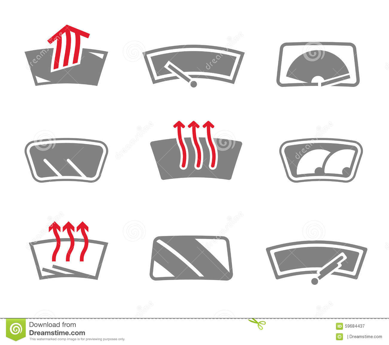 Car Safety System Icons Vector Illustration