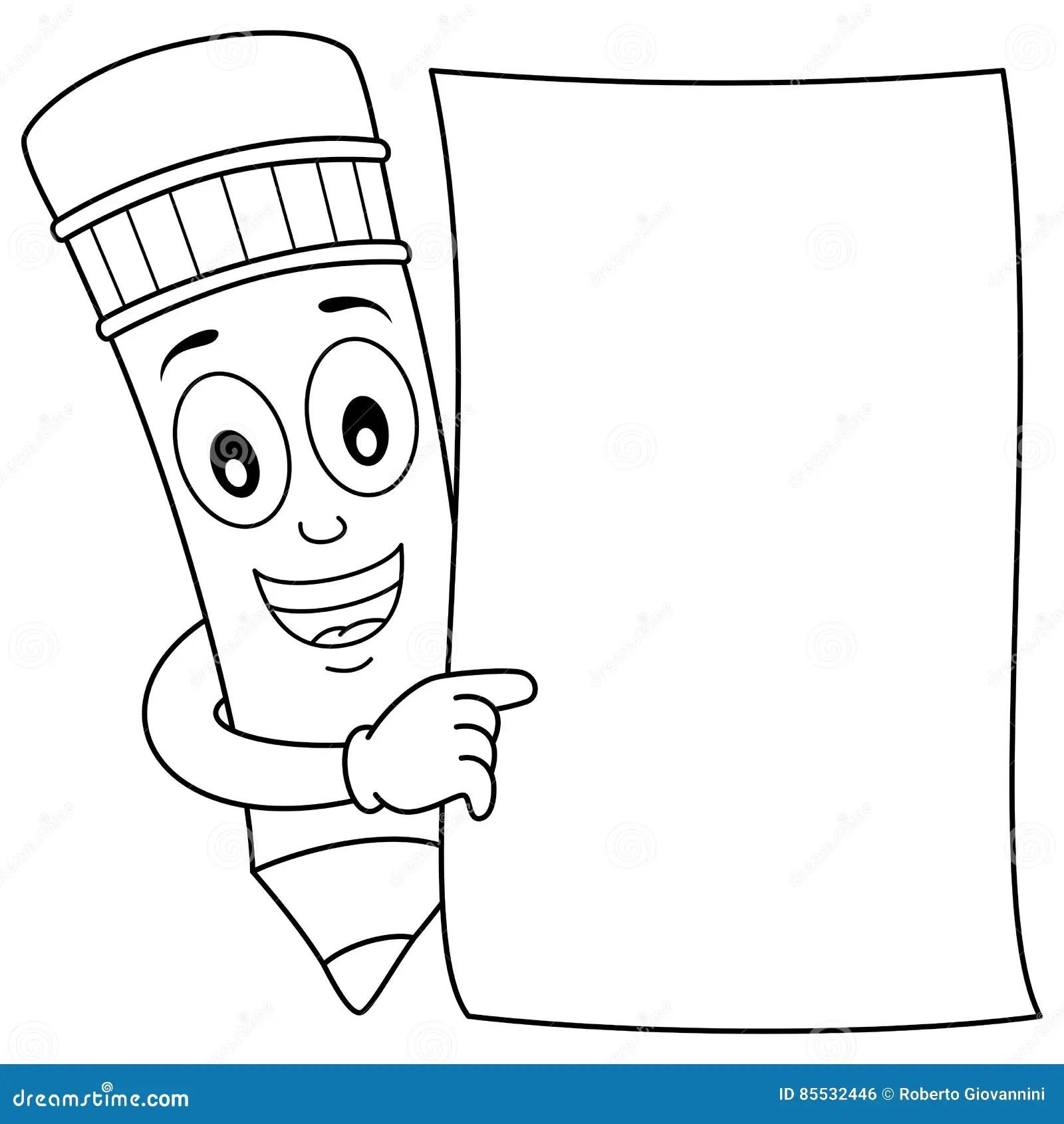 Caractere De Crayon De Coloration Et Papier Blanc
