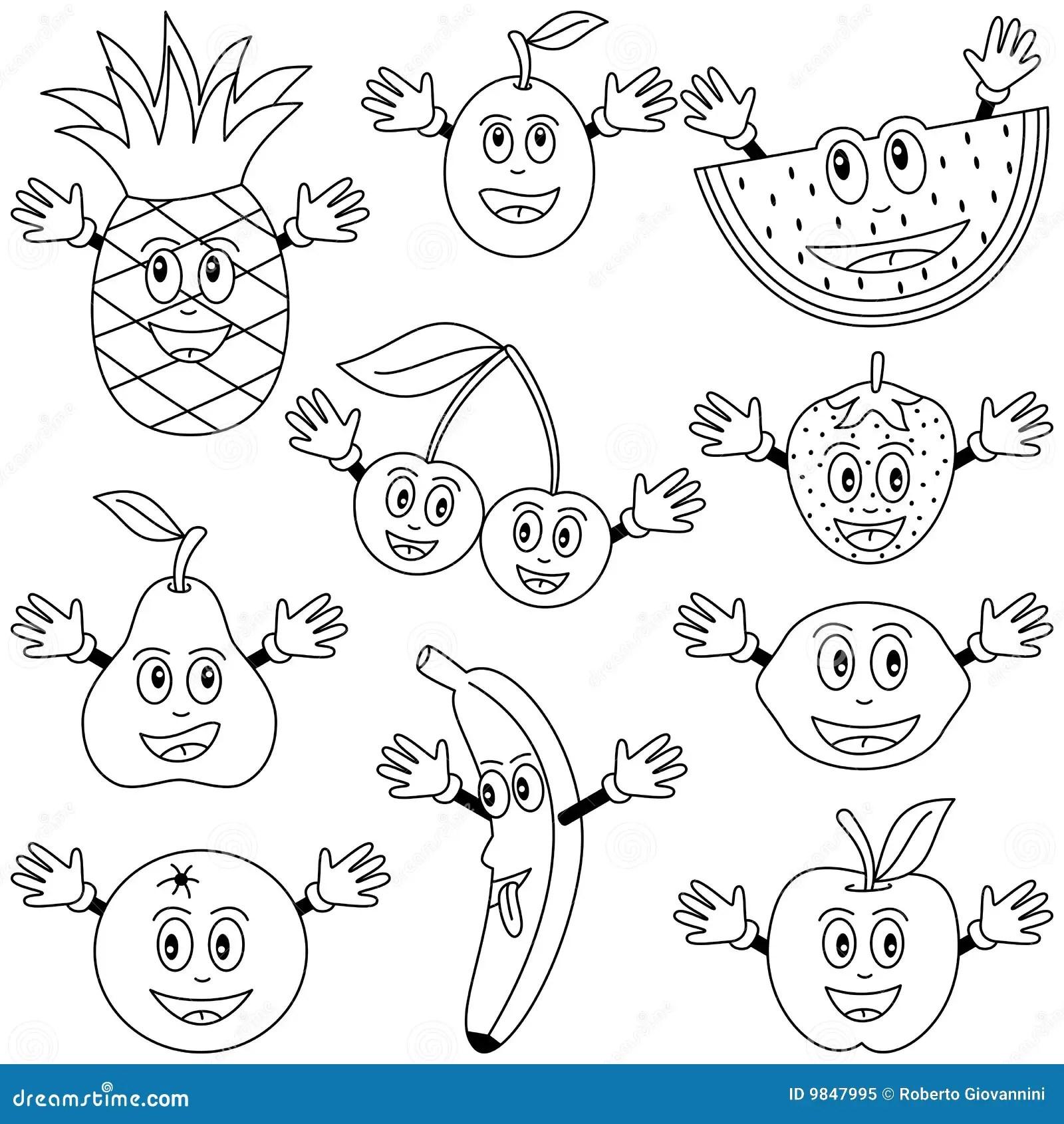 Caracteres De La Fruta Del Colorante Foto De Archivo Libre