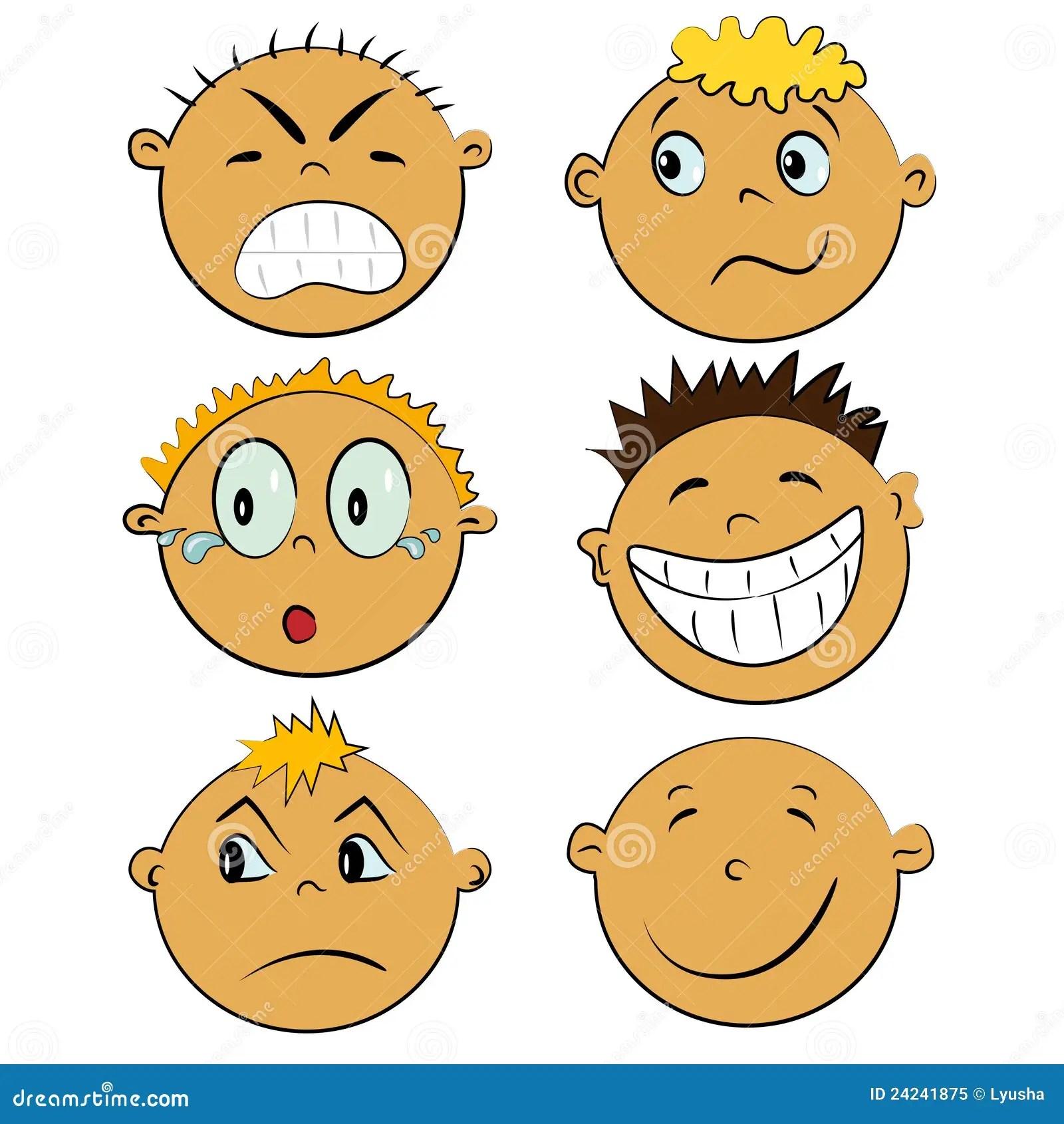 Caras De Los Ninos Fijadas Emociones De La Gente
