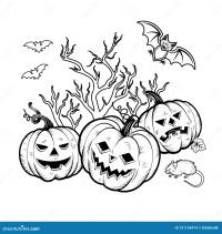 Caratteri Di Halloween Del Libro Da Colorare Illustrazione ...