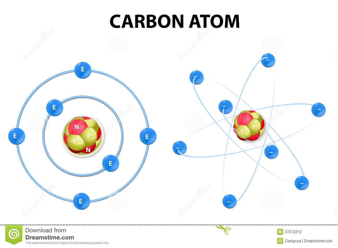 hight resolution of carbon atom on white background structure
