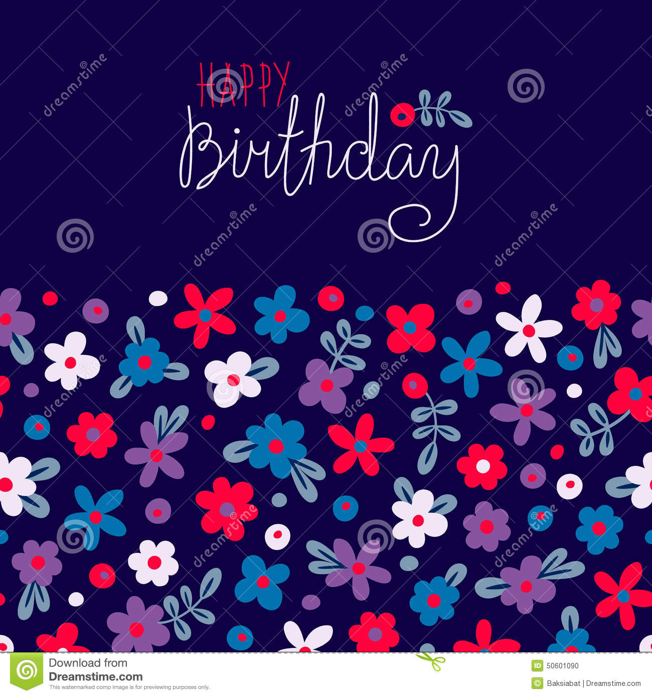 Card Happy Birthday With Cute Flowers Stock Vector