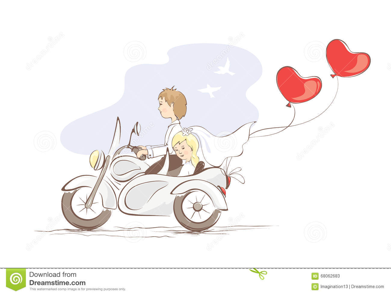 Card  Just Married On A Motorcycle Stock Vector