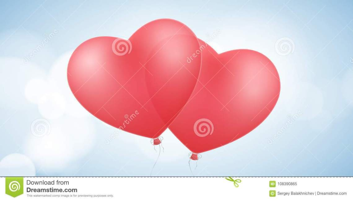 Download Card For Valentines Day. Flying Red Balloons Of The Heart ...