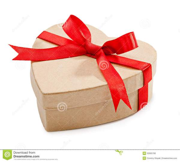 Cardboard Box With Heart-shaped Red Ribbon Tied