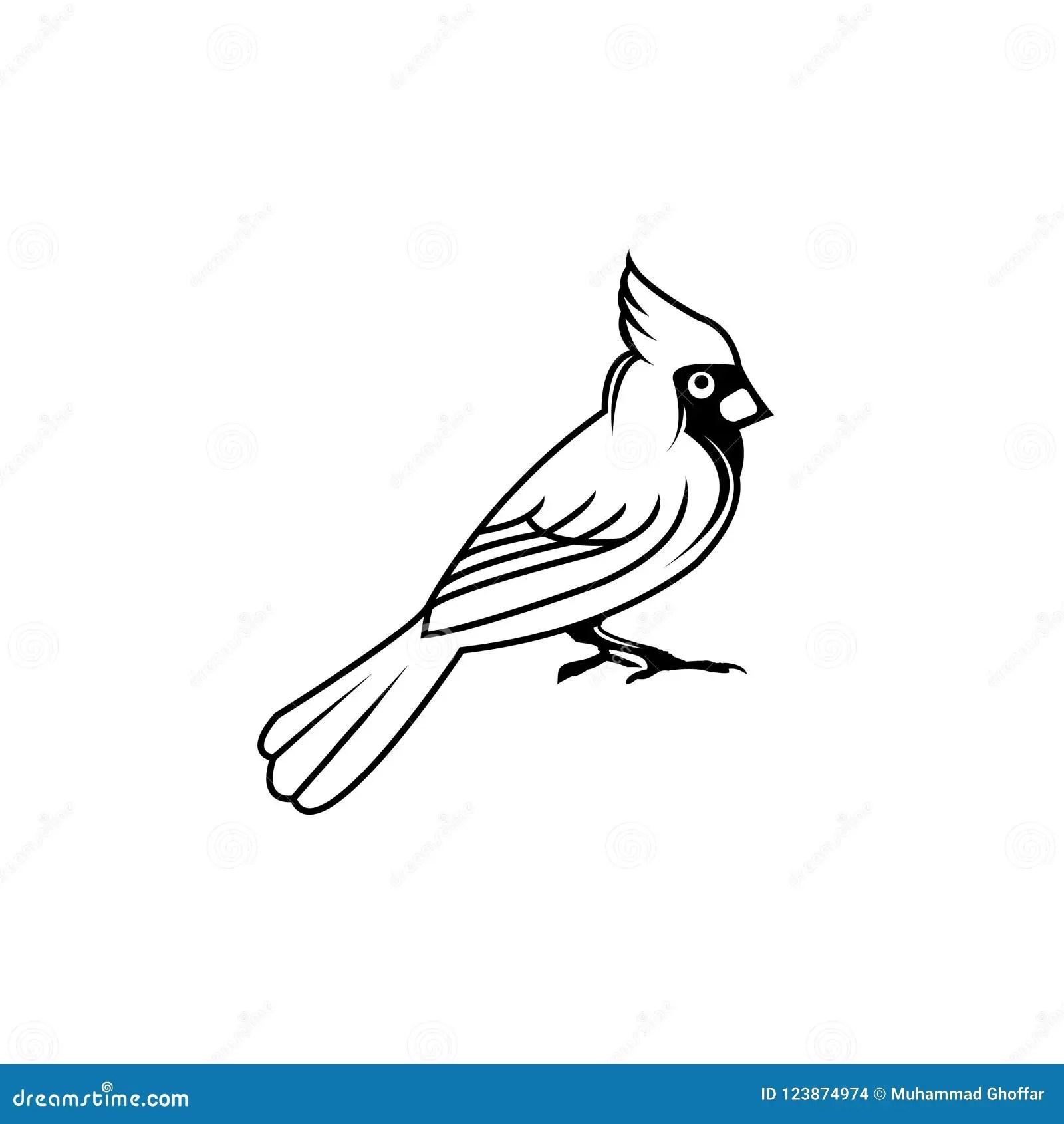 Cardinal Bird Vector Illustration Black Silhouette Flat