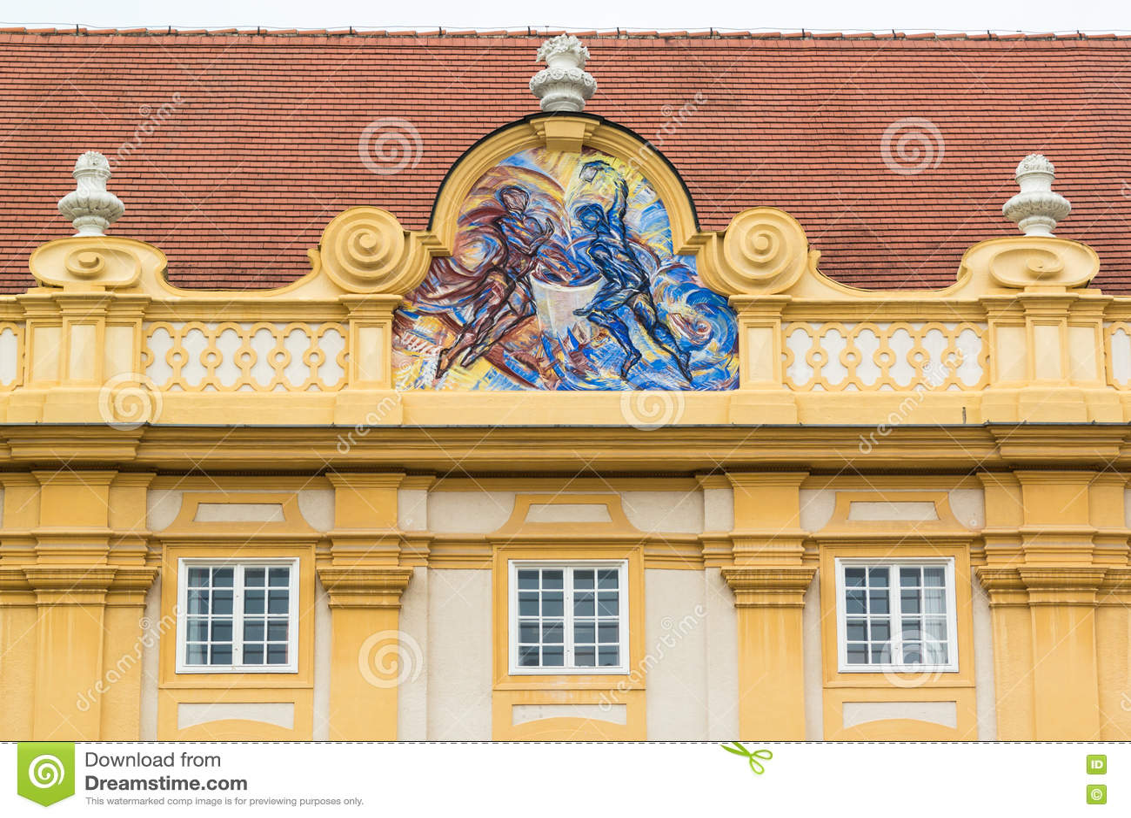 Cardinal Virtue On Gable Of Melk Abbey Austria Editorial