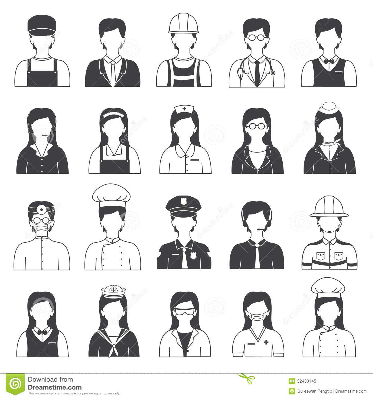 Career People And Occupation Icons Set Stock Vector