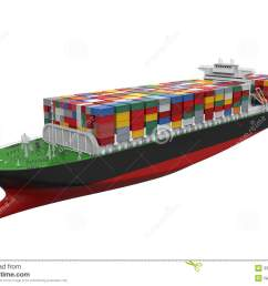 cargo container ship isolated on white background 3d render  [ 1300 x 1000 Pixel ]