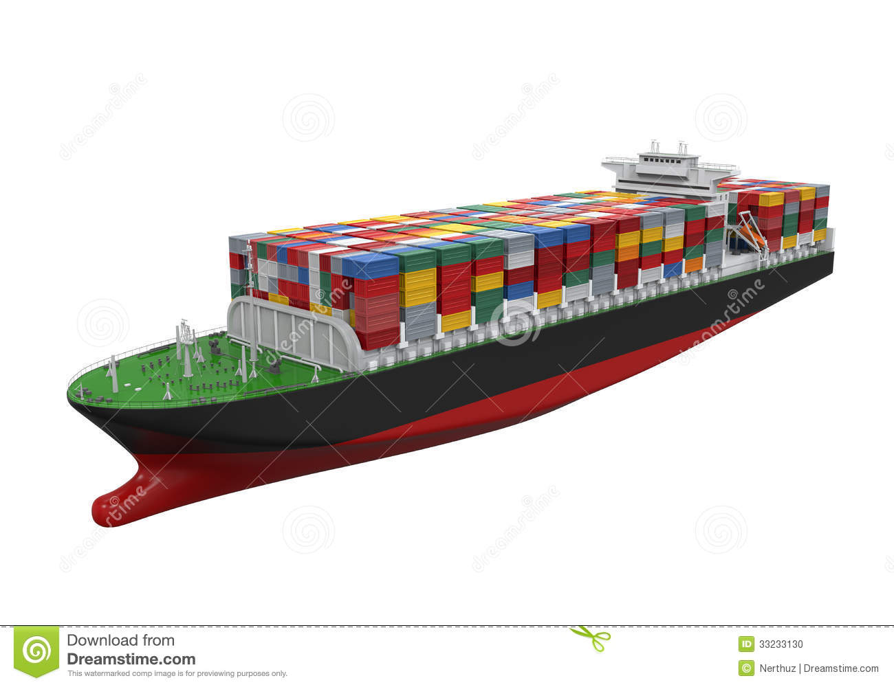 hight resolution of cargo container ship isolated on white background 3d render