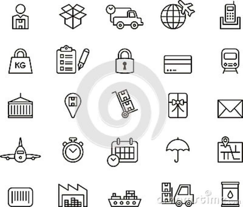 Cargo, Delivery, Freight Shipping & Transport Icons Stock
