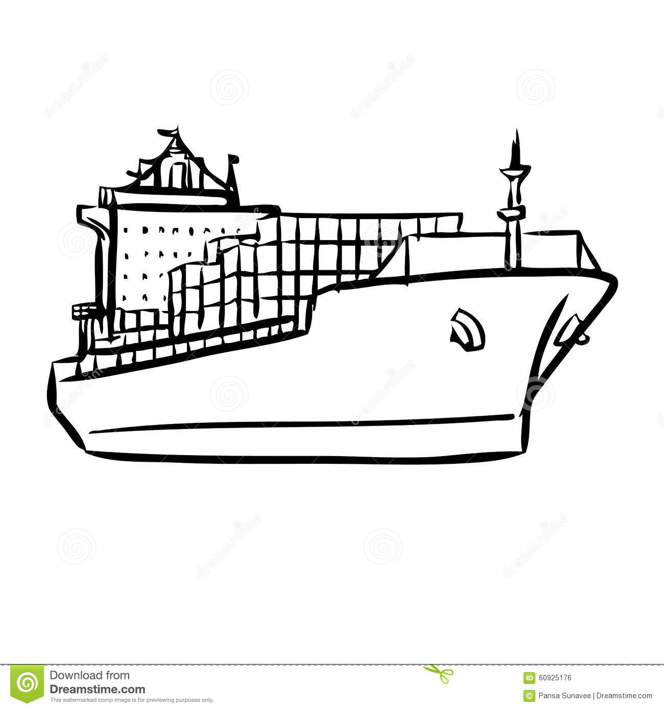 Cargo Ship With Containers Stock Vector Illustration Of