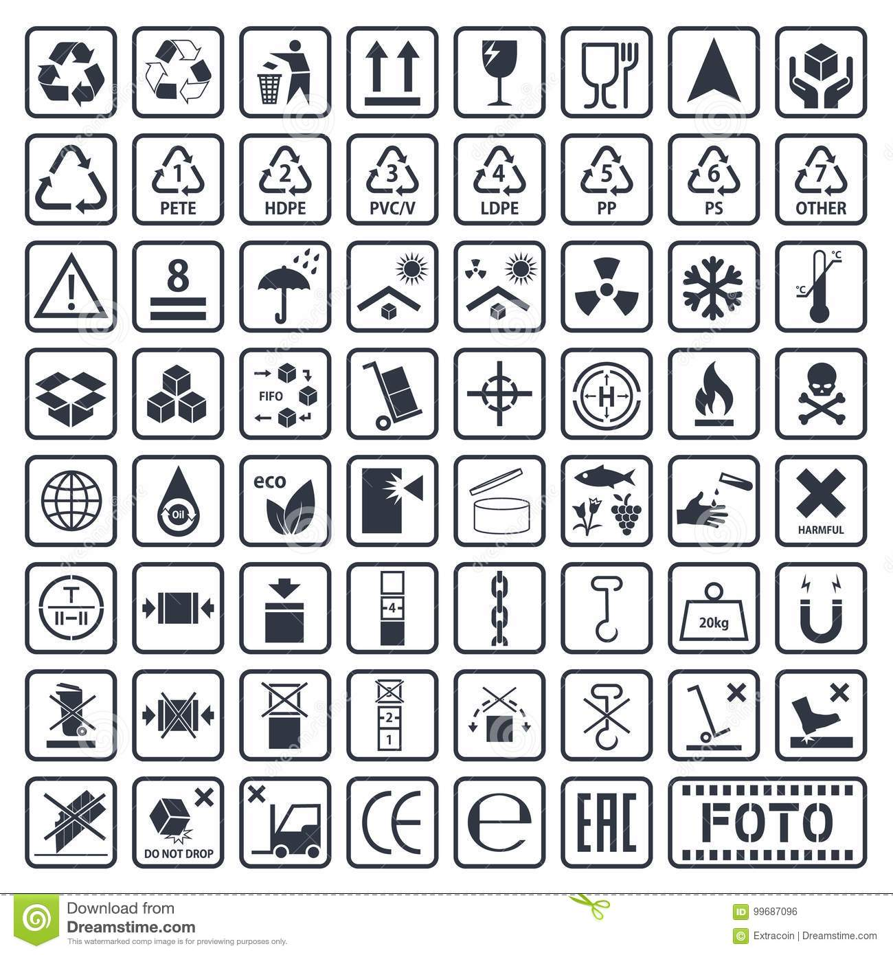 Cargo Symbols Set Packaging Icons Stock Vector