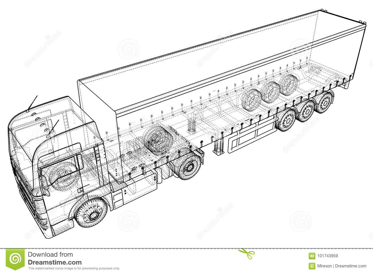 Cargo Truck Trailer. Abstract Drawing. Wire-frame. EPS10