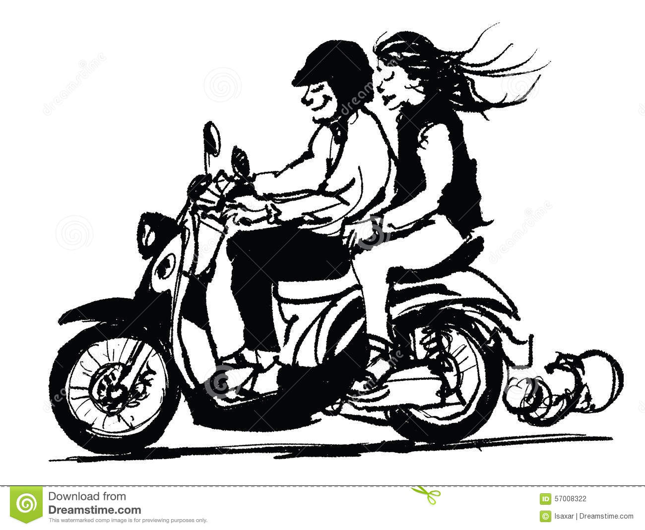 Caricature Or Cartoon Of A Young Couple Riding Scooter